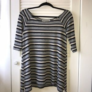 Striped short-sleeved sweater